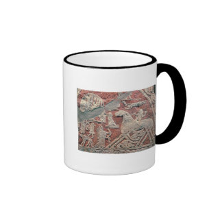 Detail of figures illustrating a saga ringer mug