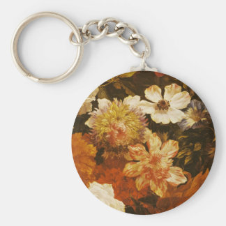 Detail of Flowers (oil on canvas) Basic Round Button Key Ring