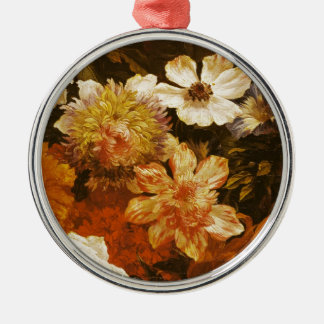 Detail of Flowers (oil on canvas) Silver-Colored Round Decoration