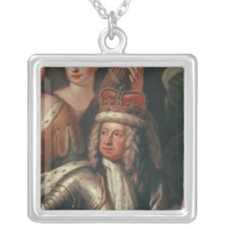 Detail of George I from the Painted Hall Silver Plated Necklace