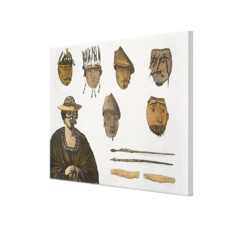 Detail of headdresses and weapons for fishing in A Canvas Print