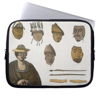 Detail of headdresses and weapons for fishing in A Laptop Sleeve