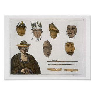 Detail of headdresses and weapons for fishing in A Poster