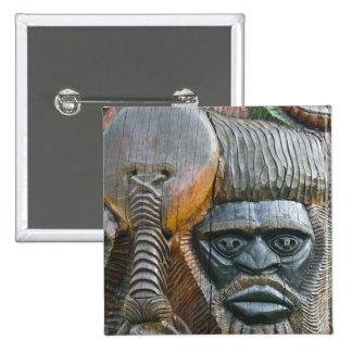 Detail of Kanak totem pole, Noumea, New 15 Cm Square Badge