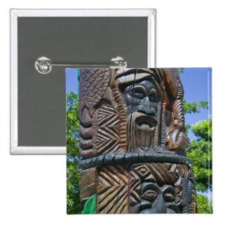 Detail of Kanak totem pole, Noumea, New 2 15 Cm Square Badge