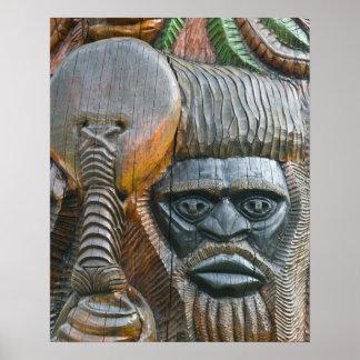Detail of Kanak totem pole, Noumea, New Poster