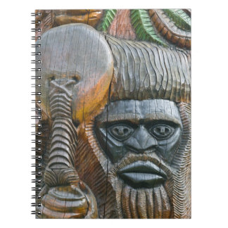 Detail of Kanak totem pole, Noumea, New Spiral Notebook