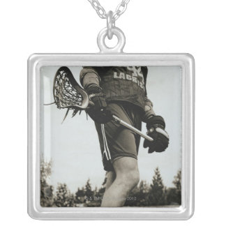 Detail of Lacrosse Athlete Silver Plated Necklace