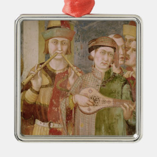 Detail of musicians from the Life of St. Silver-Colored Square Decoration