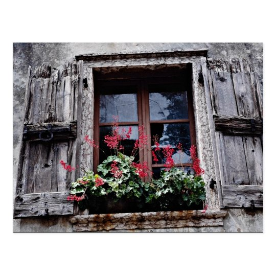 Detail of old house in Square, Garda, Italy  flowe Postcard