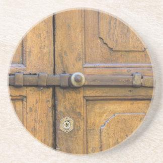 detail of old wooden door coaster