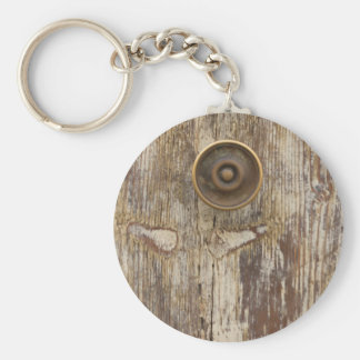 detail of old wooden door key ring