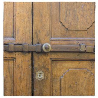 detail of old wooden door napkin