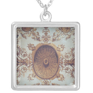 Detail of the ceiling in the Grand Salon Silver Plated Necklace