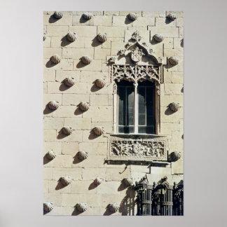Detail of the exterior of the Casa de la Conchas Poster