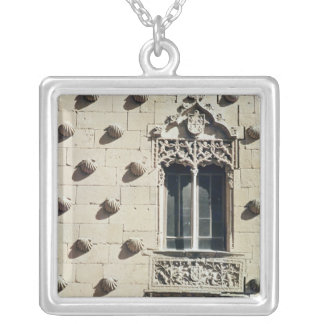 Detail of the exterior of the Casa de la Conchas Silver Plated Necklace