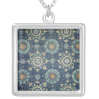 Detail of the floral decoration from the vault silver plated necklace