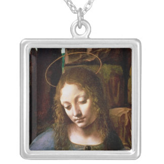 Detail of the Head of the Virgin Silver Plated Necklace