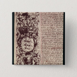 Detail of the left hand margin 15 cm square badge