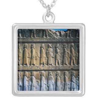 Detail of the relief frieze on the stairway silver plated necklace