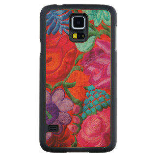 Detail of traditional embroidery floral textile carved maple galaxy s5 case