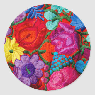 Detail of traditional embroidery floral textile classic round sticker