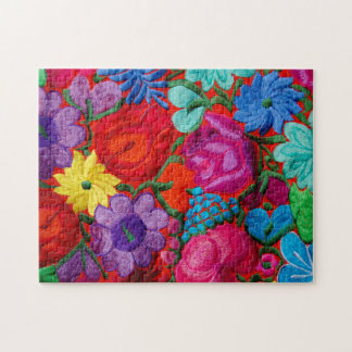 Detail of traditional embroidery floral textile jigsaw puzzle