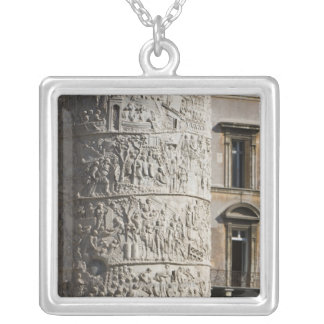 detail of Trajan's Column with buildings behind Silver Plated Necklace