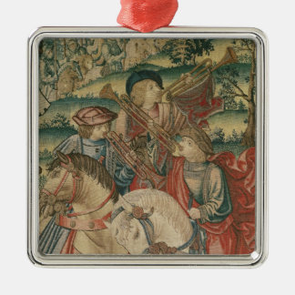 Detail of Trumpeters on horseback Silver-Colored Square Decoration