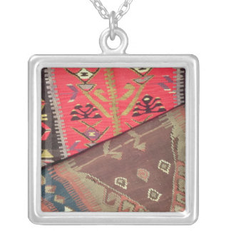 Detail of two prayer rugs silver plated necklace