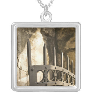 Detail of wrought iron gate in San Antonio Silver Plated Necklace