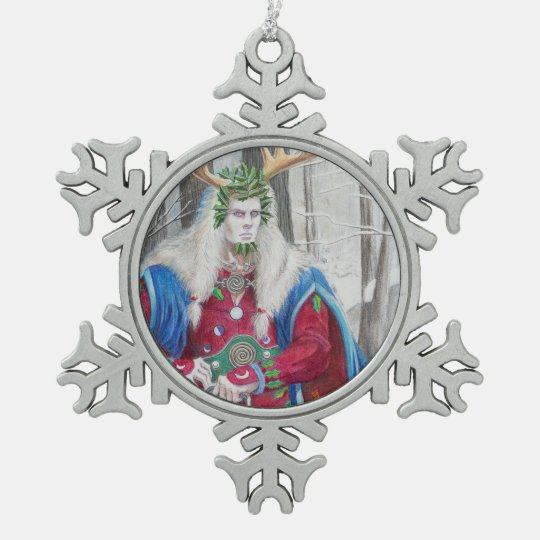 Detail Portrait of the Celtic Holly King Snowflake
