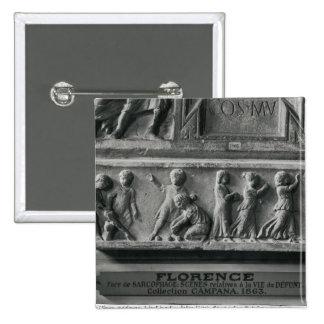 Detail sarcophagus depicting children playing 15 cm square badge