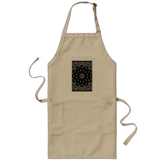 Detailed Black Bandanna Pattern Long Apron