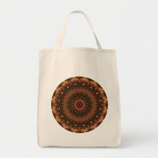 Detailed Brown Meditative Mandala Kaleidoscope Grocery Tote Bag