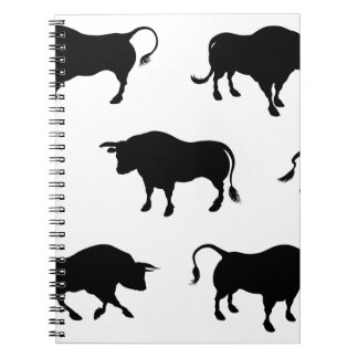 Detailed Bull Silhouettes Spiral Note Books