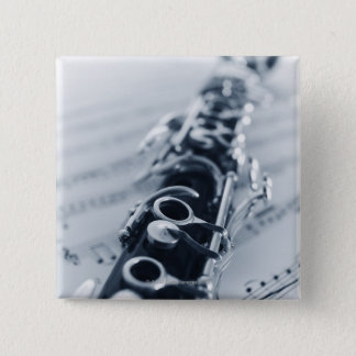 Detailed Clarinet 15 Cm Square Badge