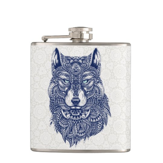 Detailed Dark Blue Wolf Head Illustration Hip Flask