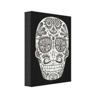 Detailed Day of the Dead Skull Art on Canvas Stretched Canvas Print