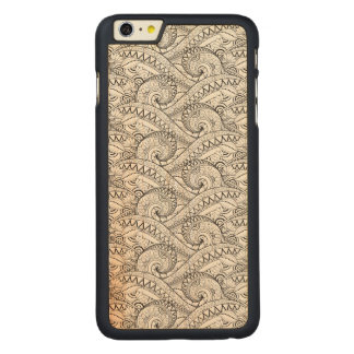 Detailed Floral Pattern Doodle Carved Maple iPhone 6 Plus Case