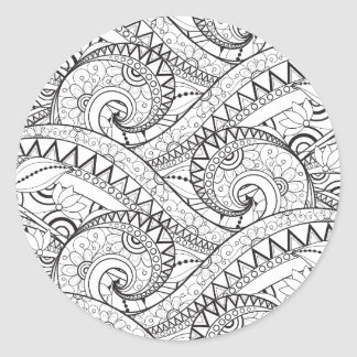 Detailed Floral Pattern Doodle Classic Round Sticker