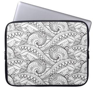 Detailed Floral Pattern Doodle Laptop Sleeve