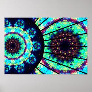 Detailed Fluorescent Cell Mandala Poster