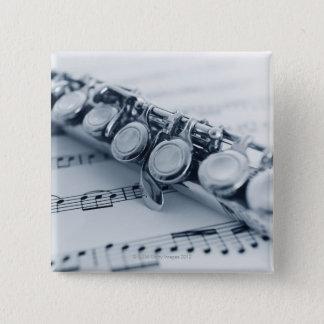 Detailed Flute 15 Cm Square Badge