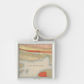 Detailed Geology Sheet VIII Silver-Colored Square Key Ring