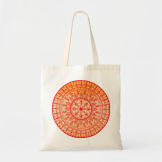 Detailed Hand Drawn Vibrant Red And Orange Mandala Budget Tote Bag