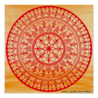 Detailed Hand Drawn Vibrant Red And Orange Mandala Poster
