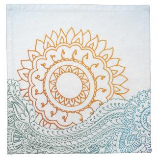 Detailed henna abstract sunrise cloth napkins