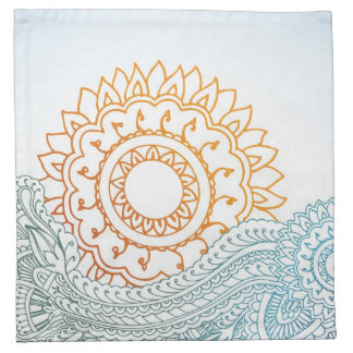 Detailed henna abstract sunrise napkin