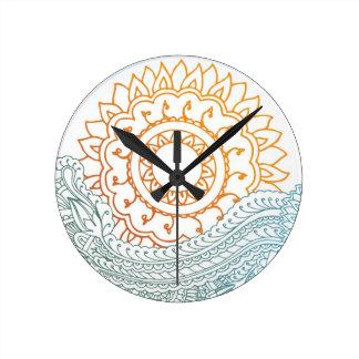 Detailed henna abstract sunrise round clock